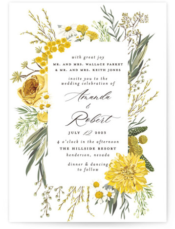 Organic Florals Wedding Invitations