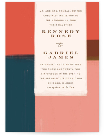 painted colorblock Wedding Invitations