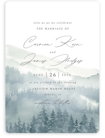 Over the mountains Wedding Invitations
