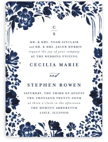 brushstrokes in bloom Wedding Invitations