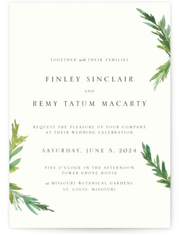 Simple Pine Branches Wedding Invitations
