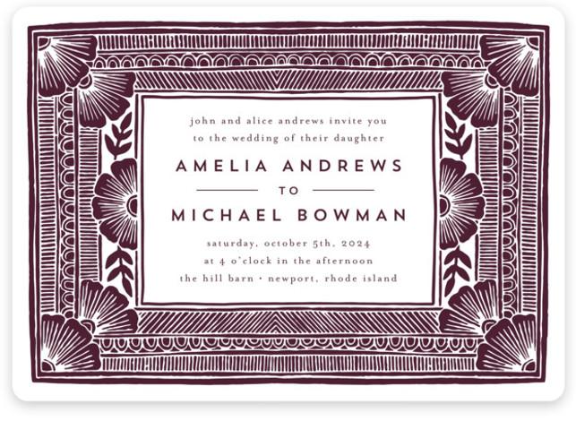 Block Print Frame Wedding Invitations
