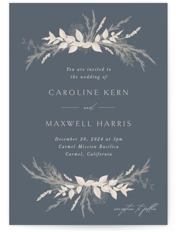 Winter White Botanicals Wedding Invitations