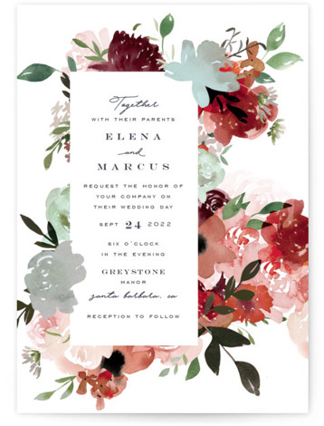 Cascading Florals Wedding Invitations