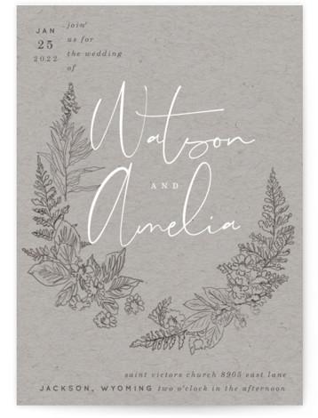 Floral Frame Sketch Wedding Invitations