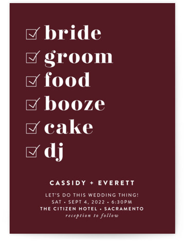 Key Ingredients Wedding Invitations
