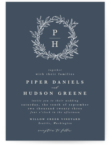 leafy wreath Wedding Invitations