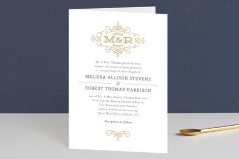 Ornate Monogram Four-Panel Wedding Invitations