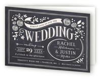 Alabaster Florals Four-Panel Wedding Invitations