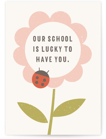The Flower and the Ladybug Invitation Individual Thank You Greeting Cards