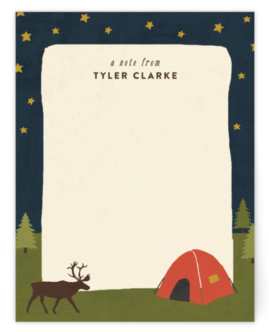 Camping Children's Personalized Stationery
