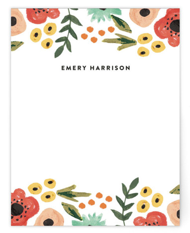 Watercolor Flowers Children's Personalized Stationery