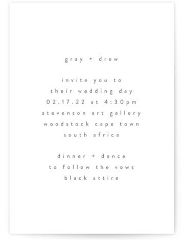Very Plain Letterpress Wedding Invitations