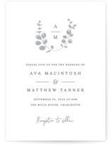 Eucalyptus Monogram Letterpress Wedding Invitations