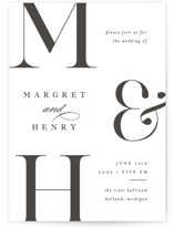 Trio Letterpress Wedding Invitations