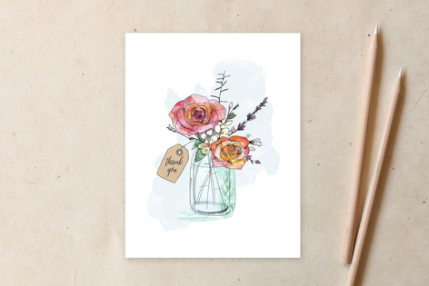 Hand-Drawn Roses and Mason Jar  Non-Custom A2 Cards
