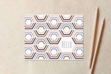 Divided Hexagons Hello Non-Custom A2 Cards