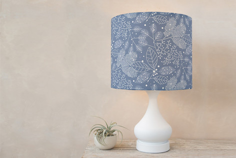 Frosted Winter Fabric Self Launch Drum Lampshades
