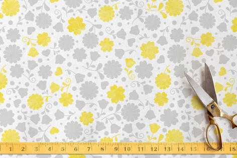 Stamped Flowers Fabric