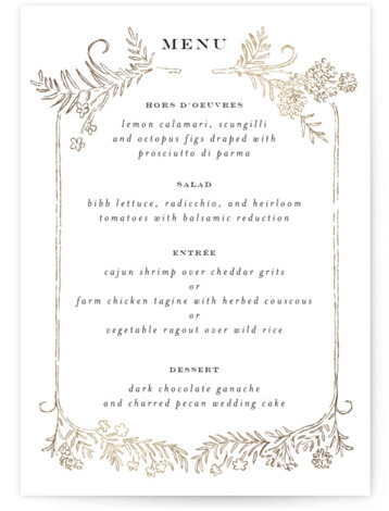 Lacy Meadow Ovals Foil-Pressed Menus