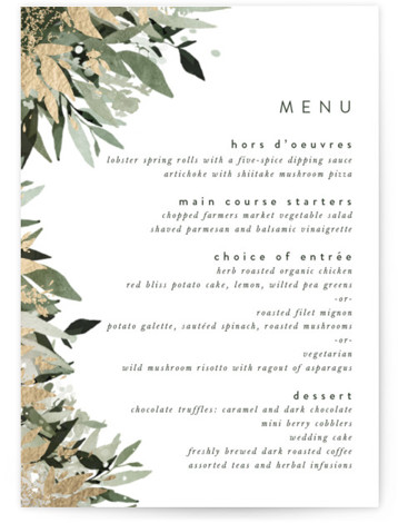 Flourishing Edge Foil-Pressed Menus