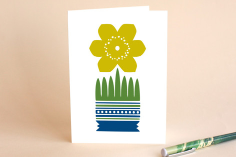 Yellow Nordic Flower A7 card Greeting Cards