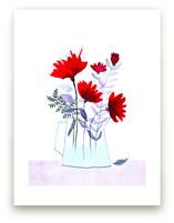 Red Flowers in Grey Vas... by Michele Norris