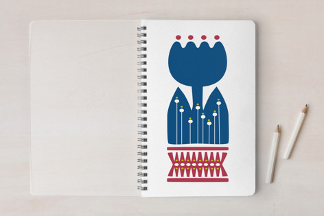 Nordic Blue Flower Notebook Notebooks