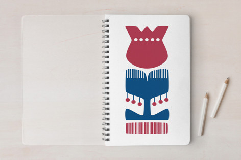 Nordic Red Flower Notebook Notebooks