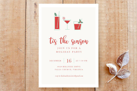 Christmas Cocktails Custom Stationery