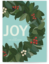 Joy Holiday Wreath Custom Stationery