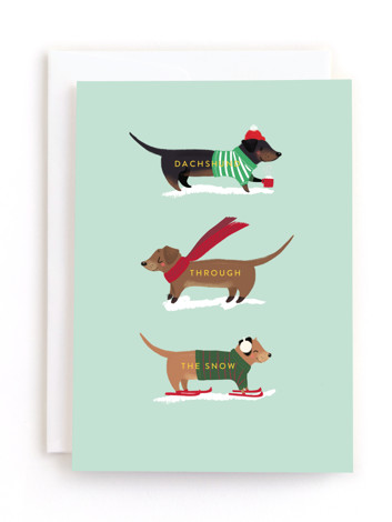 Dachshund through the Snow Holiday Greeting Cards