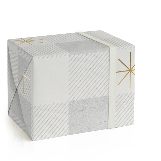 gingham stars Foil-Pressed Wrapping Paper