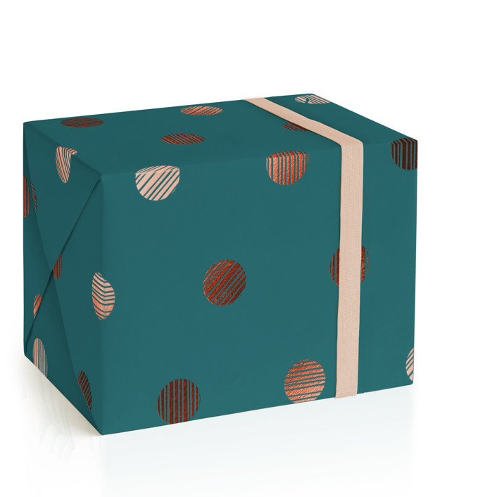 Lined Dots Foil-Pressed Wrapping Paper