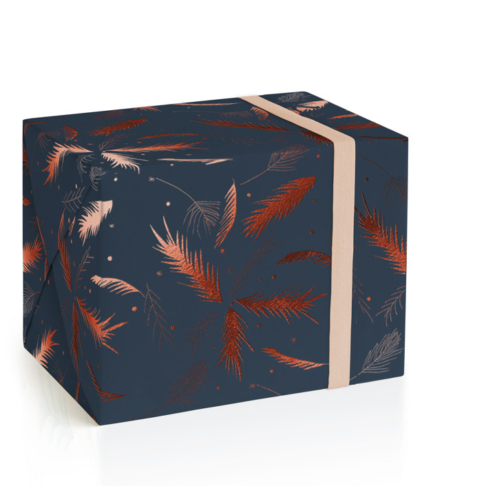 Evergreen Sprigs Foil-Pressed Wrapping Paper