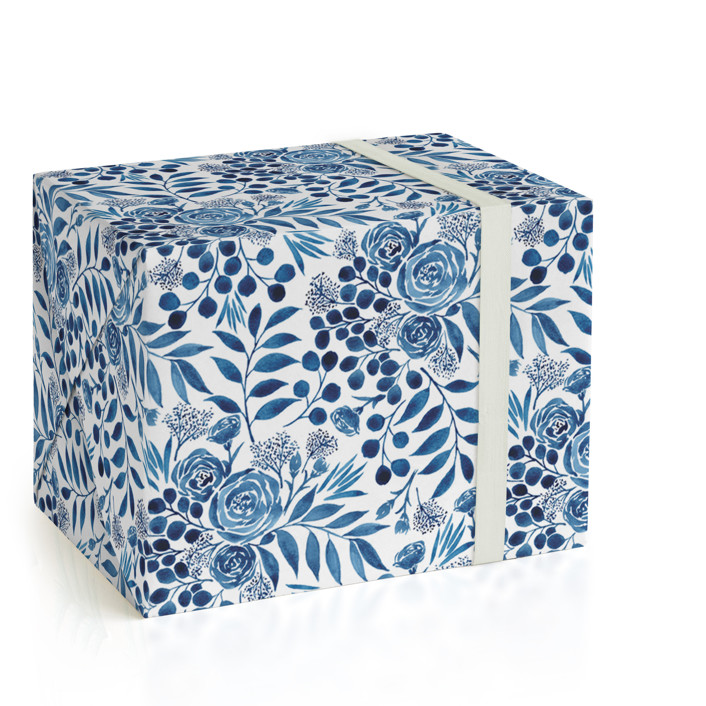 Blue Floral Boquest Wrapping Paper