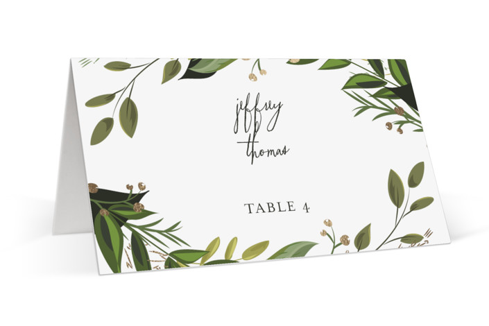 Vines of Green Foil-Pressed Place Cards