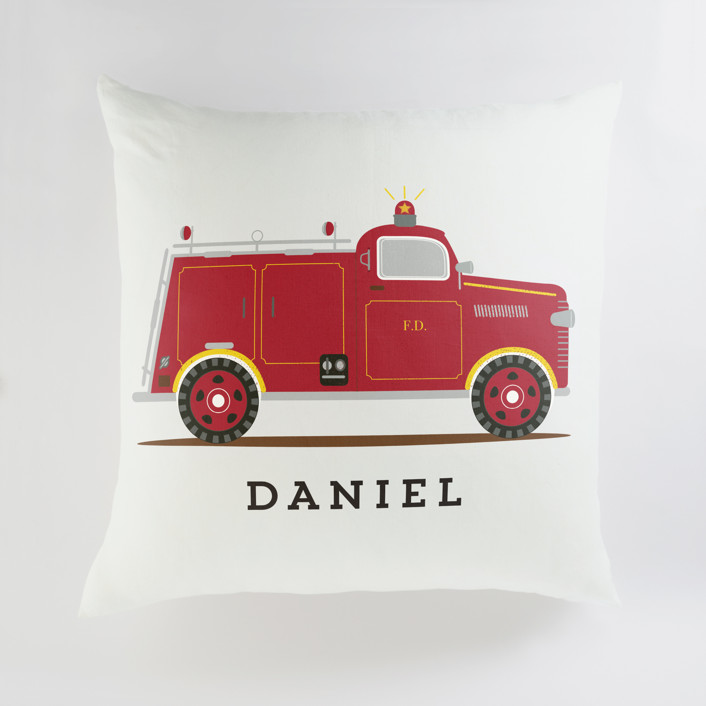 Red Fire Engine #1 Personalized Floor Pillows