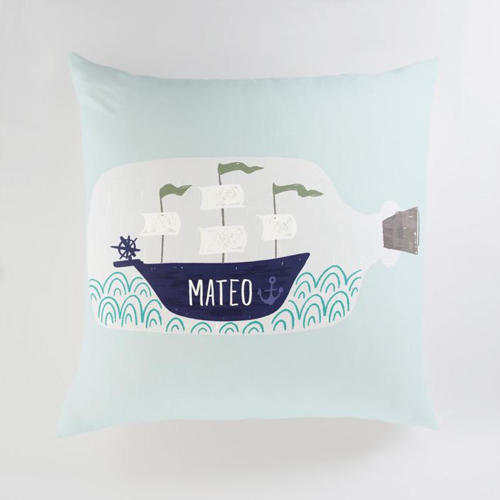 Little Sail Boat Bottle Personalized Floor Pillows