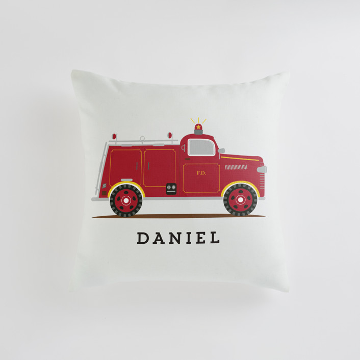 Red Fire Engine #1 Personalizable Pillows