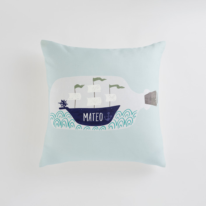 Little Sail Boat Bottle Personalizable Pillows