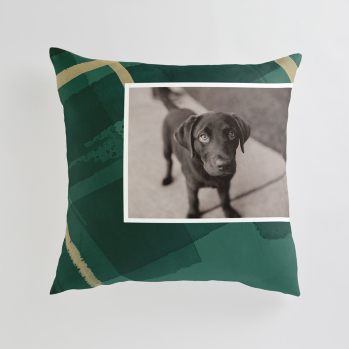 Painted Holiday Plaid Large Square Photo Pillow