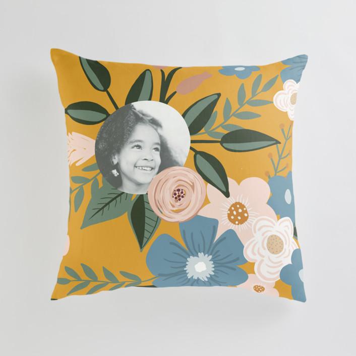 Vintage Floral Large 24 Inch Photo Pillow