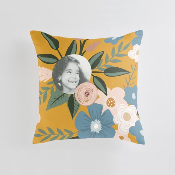 Vintage Floral Medium 20 Inch Photo Pillow