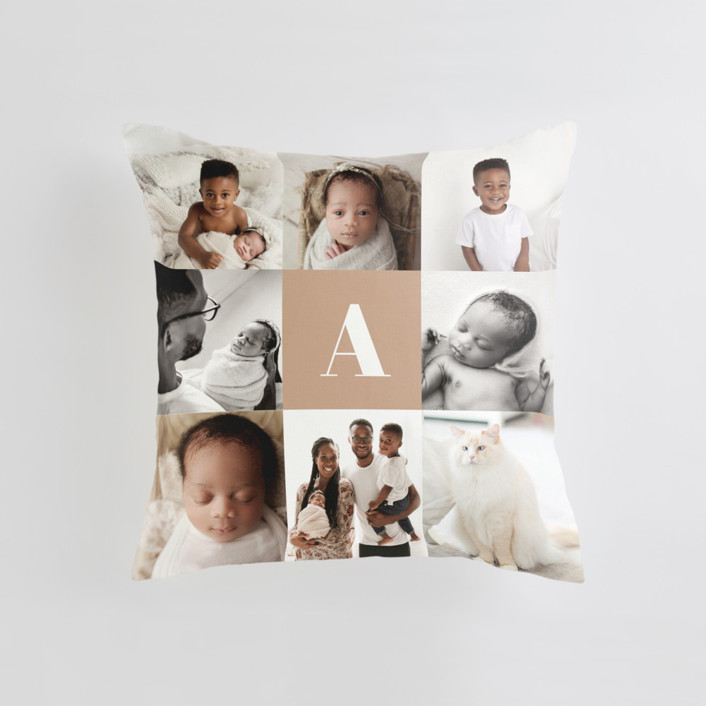 Monogram Grid Medium Square Photo Pillow
