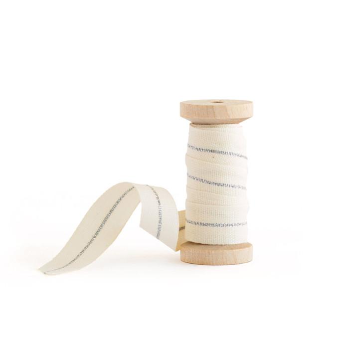 White & Silver Metallic Stripe Wedding Ribbon