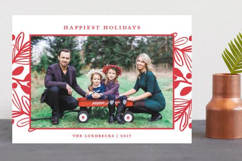 Fun Botanical Frame Christmas Photo Cards