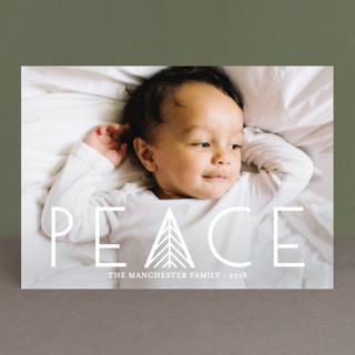 Herringbone Peace Christmas Photo Cards