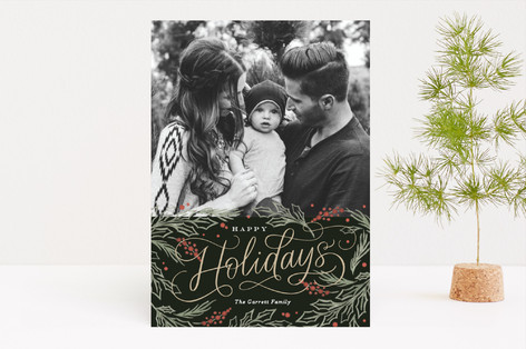 Embellished Pines Christmas Photo Cards