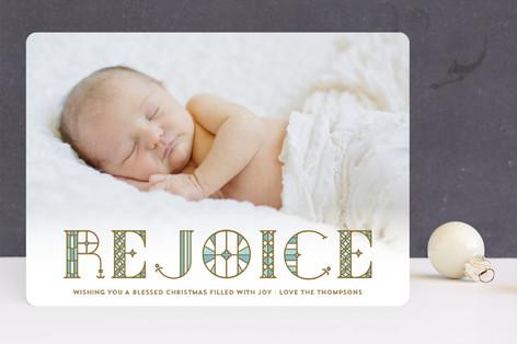 Stainglass Rejoice Christmas Photo Cards
